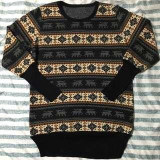 麋鹿雪花長版針織毛衣