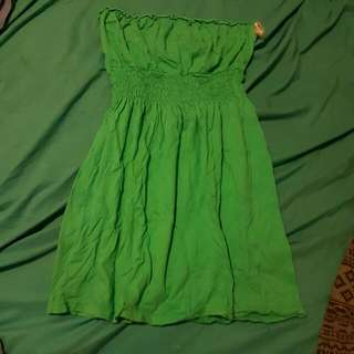 Green / Aqua Short Dress Or Long Top Strapless