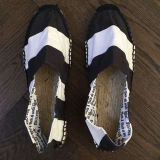 Soludos Black And White Stripe Shoes
