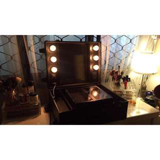vanity lights makeup setup