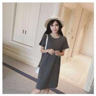 Pocket skirt round neck short sleeve dress- M / L Size