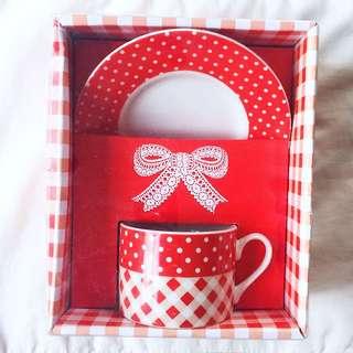 Ceramic Polka Dots Teacup & Saucer Gift Set
