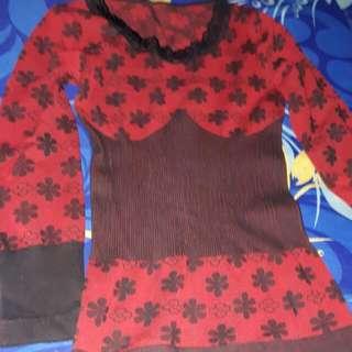 Baju Tidur..atasan N Celana..belum Pernah Pakai..size S.warna Merah Kombinasi Hitam.bahan Kaos..