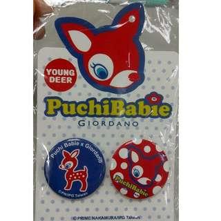 🚚 【黑人嚴選】絕版品! 最後一組 Puchi Babie X GIORDANO 小鹿貝比馬口鐵徽章