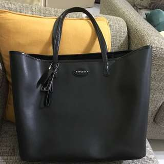 Preloved Coach Saffiano Leather Tote Carryall Bag
