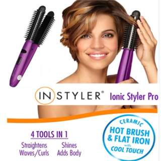 *Instyler*Ionic Styler Pro ionic hot brush 4 in 1 hair styling comb flat iron tools brush