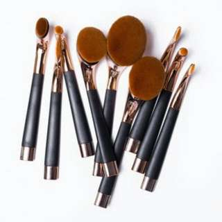 Rose Gold Oval Paddle Golf Brush Set 9 Pieces