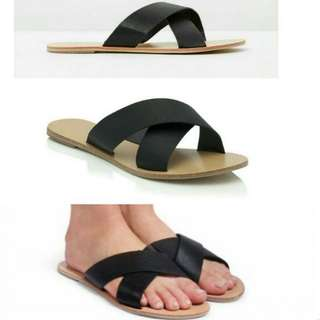 Billini Black Crossover Slides