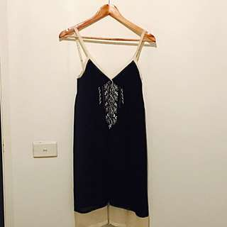 Navy Blue And Cream Kachel Dress
