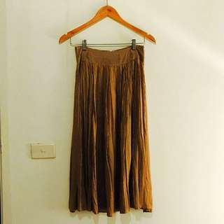 Tan And White Striped Mink Pink Skirt