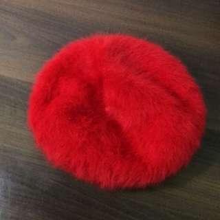全新 兔毛 紅色貝雷帽