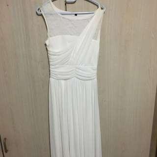 White Semi Laced Long Dress