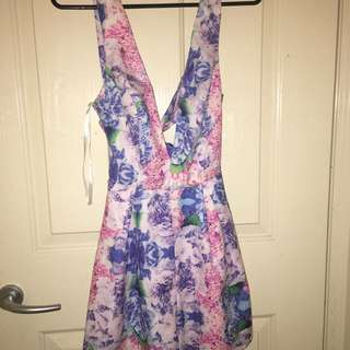Deep V Cut Floral Playsuit