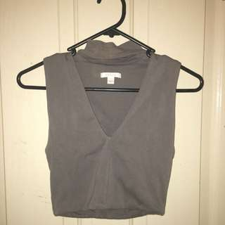 Dark Grey Vee Neck Crop Top