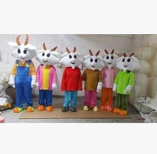 羊年行走卡通人偶服裝山羊人偶行走服飾五羊表演道具生肖羊年服裝年會表演 服裝商場促銷活動