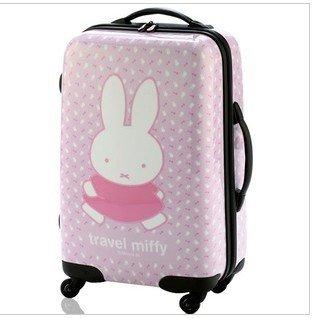 正品超可愛韓國米菲兔20寸ABS PC拉桿箱可愛女登機箱卡通旅行箱子卡通米菲兔拉桿箱女生必備款旅遊箱