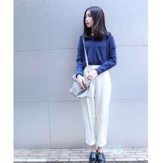 minis mode 米白色立體剪裁打摺9分寬褲(原價:1760元)