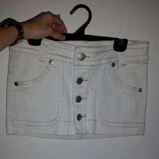 White Mini Denim Skirt
