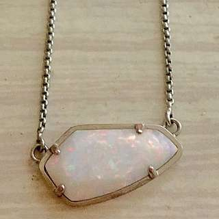 Sun Opal Sterling Silver Necklace