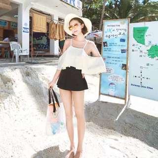 韓版黑白拼色遮肚顯瘦連身泳衣比基尼