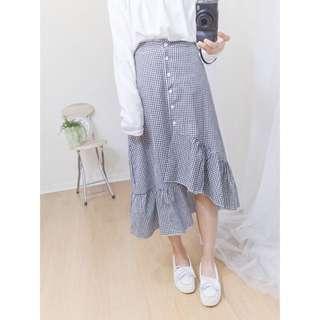 (免運)韓國復古格紋排扣不規則鬆緊魚尾裙