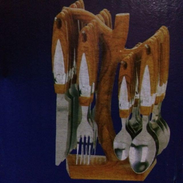 24 pcs sendok motif kayu