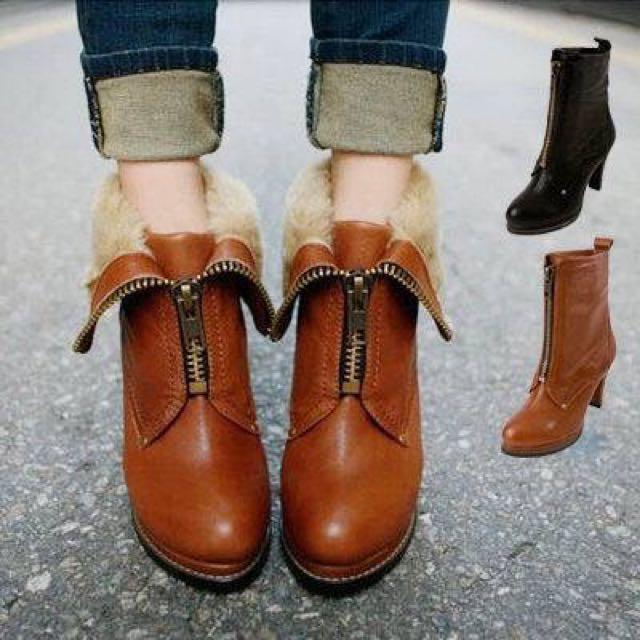 🎉降價2ways刷毛棕色高跟靴