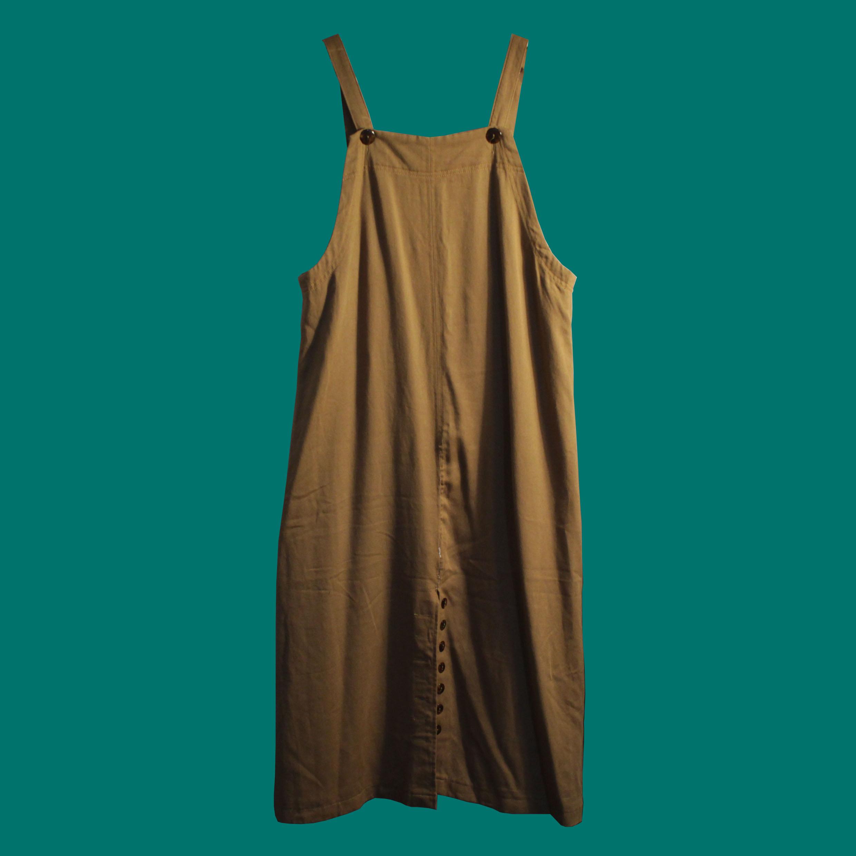 褐色連身吊帶裙
