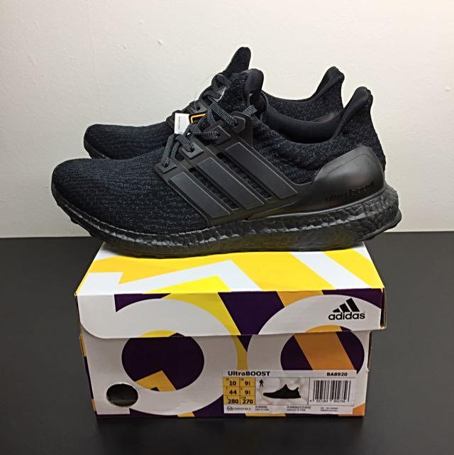 23dcd3363 Adidas Ultraboost 3.0 Triple Black US 10 Uk 9.5 (BA8920)