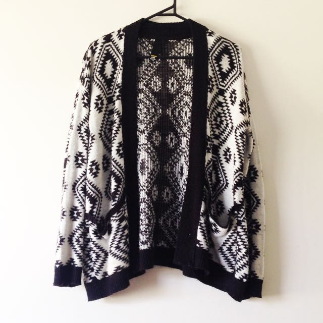 Black And White Wooden Aztec Print Cardigan