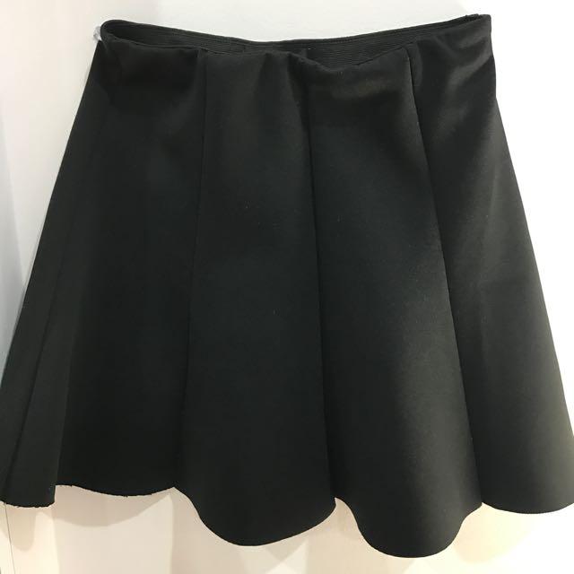 Black scuba flare skirt