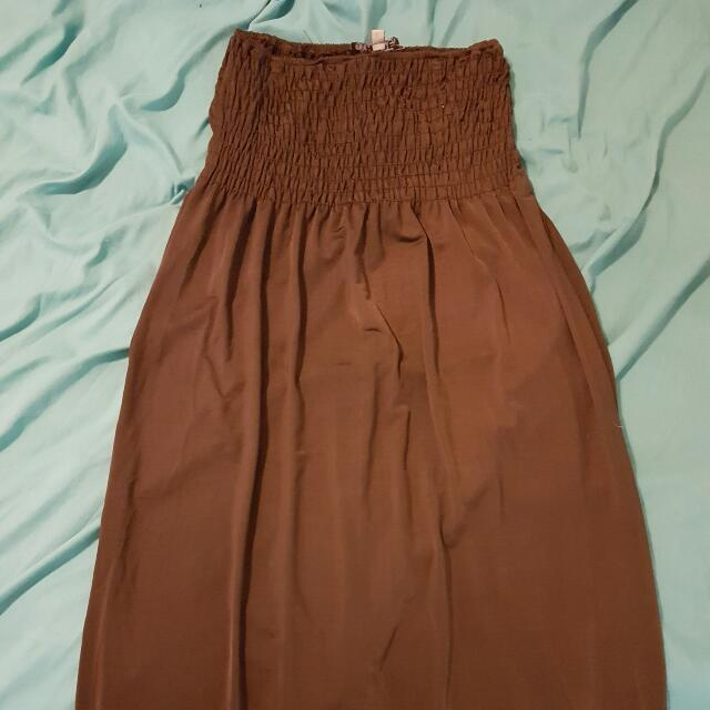 Brown Stretchy Maxi Dress