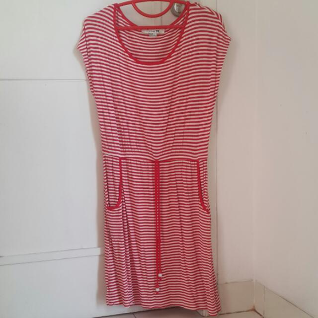 Dress Forever21 Red White Stripes