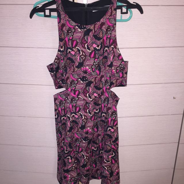 Dress Zara bunga hitam pink ORI
