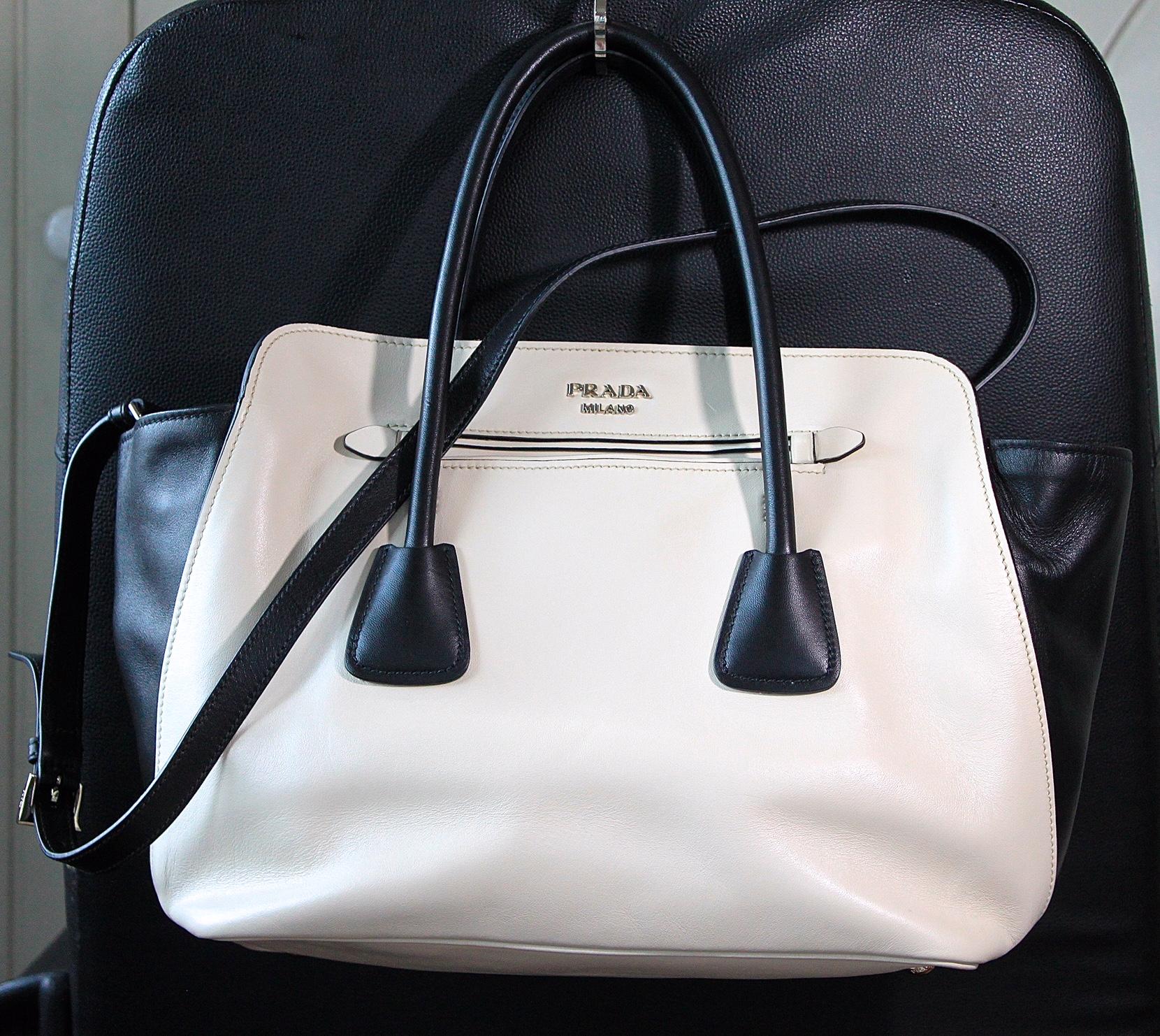 Genuine Prada 2-way Tote Bag PRADA 2WAY Tote TALCO+NERO BN2611