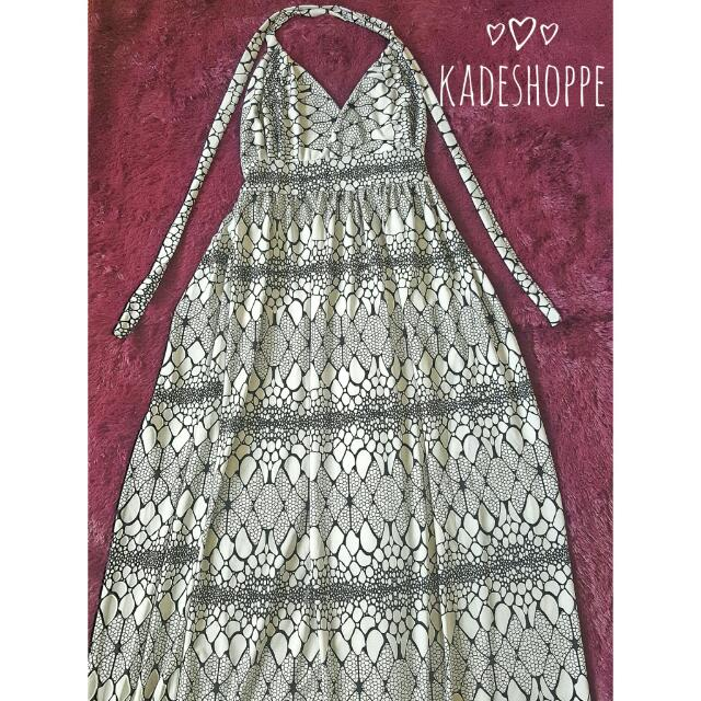 Geometric Backless Maxi Beach Dress