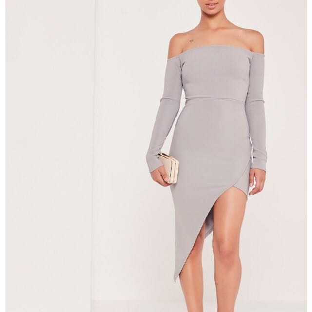 Size 4 Grey Off The Shoulder Dress - Missguided