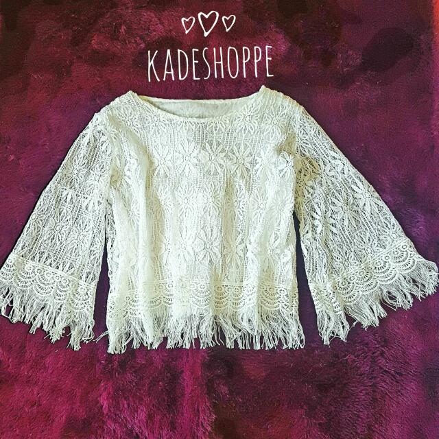 Lace Fringed White Top