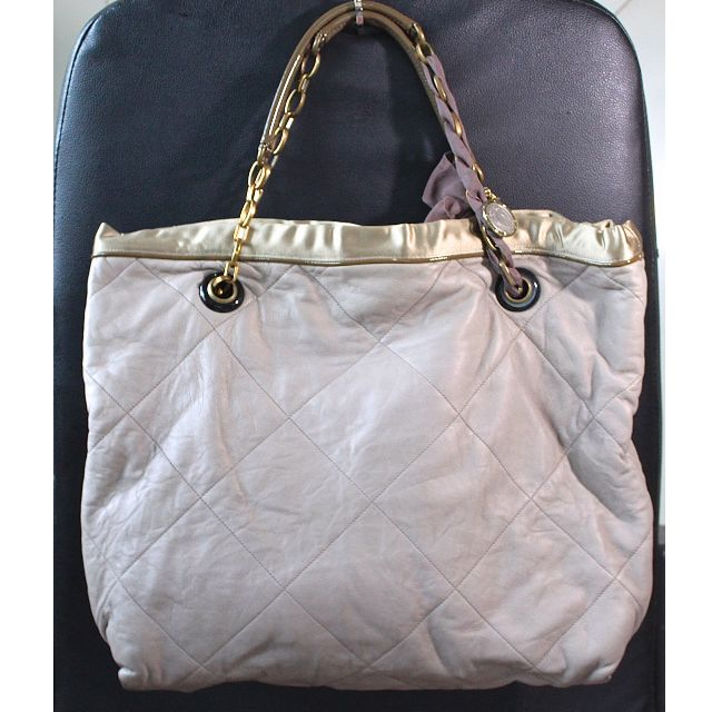 Genuine LANVIN Lambskin Quilted Amalia Cabas Tote Beige