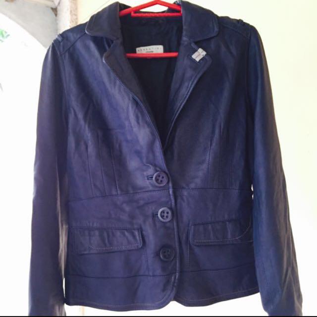 Leather Jacket Navy blue