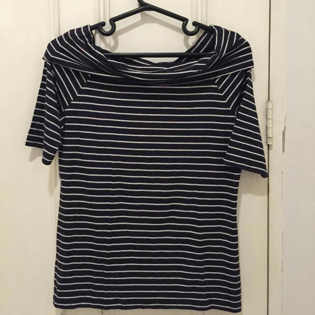 Maldita Cowl Neck Striped Top