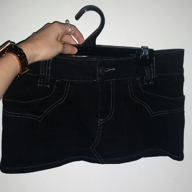 Mini Black Denim Skirt
