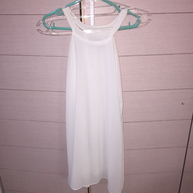 Mini dress simple Putih halter