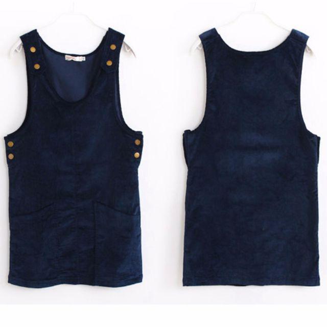 OB嚴選 素色燈芯絨雙口袋無袖吊帶長版上衣-M號藍色