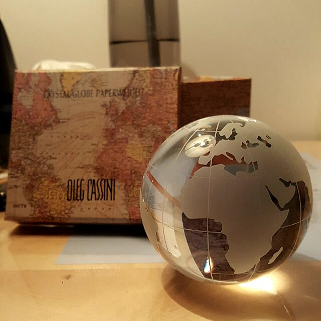 Oleg Cassini Crystal Globe Paperweight