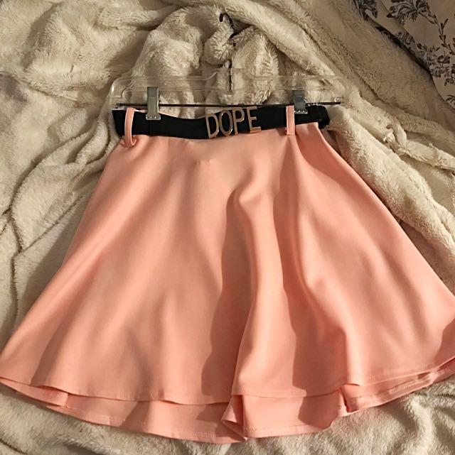 Pink Skater Skirt W/belt