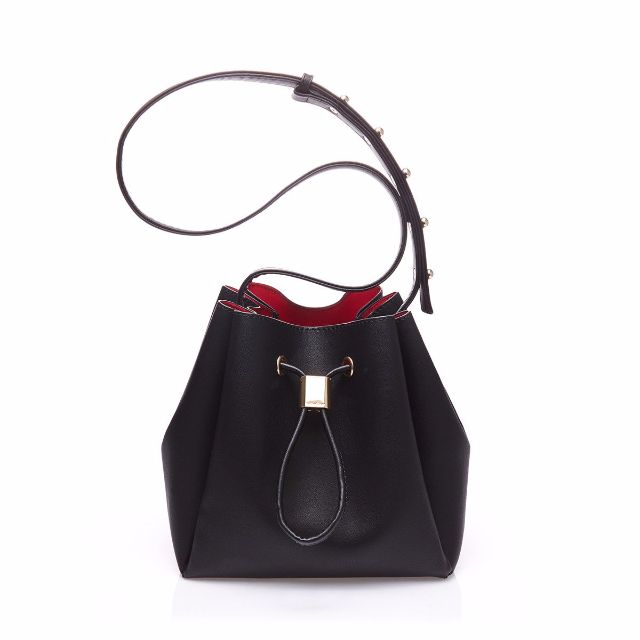 SOMETIME PERFECT BUCKET BAG BUCKIE HANDBAG - BLACK with RED INTERIOR