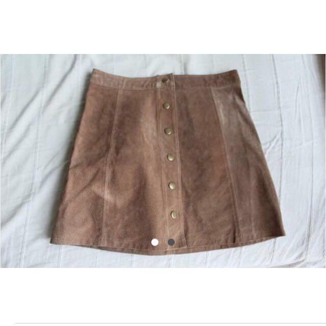 Stradivarius Leather A-line Skirt