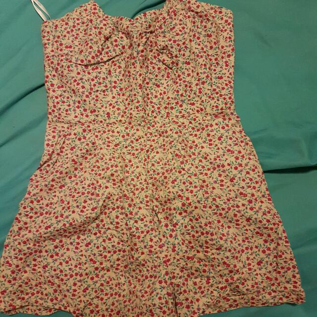 Strapless Floral Boned Playsuit