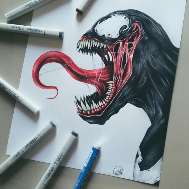 The Venom Drawing Design Craft Artwork On Carousell